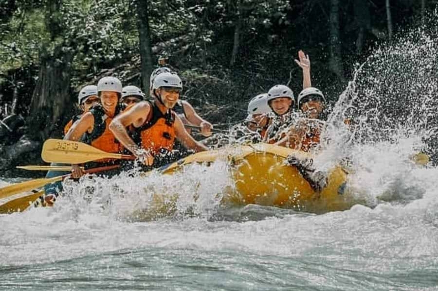 Go rafting on a guided camping tour in the Rockies.