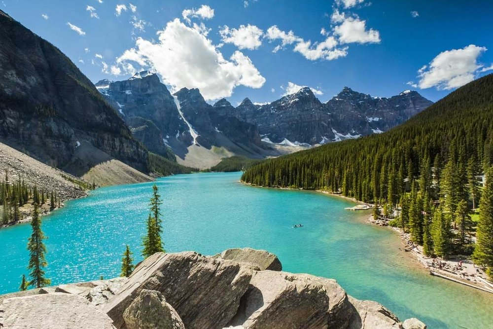 Moraine Lake on a guided camping adventure for small groups