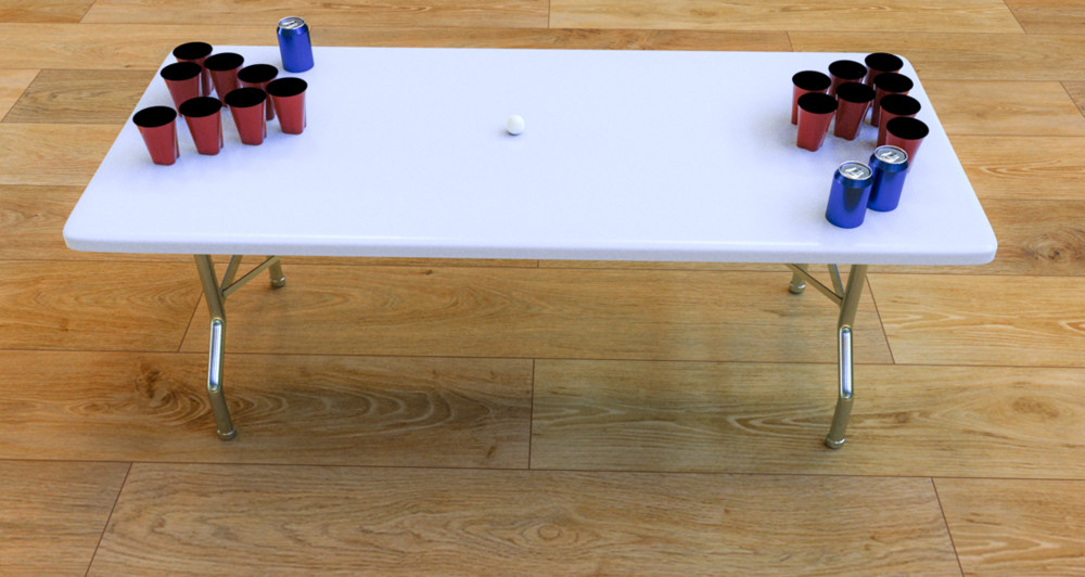 3-d model of table with beer pong props