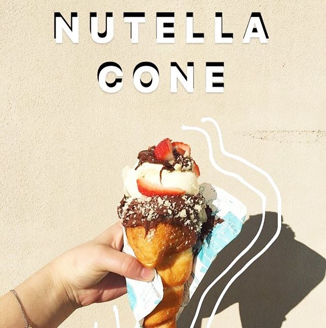 S A T U R D A Y  S P E C I A L !  #nutella #cone #with #icecream #strawberry #macadamia #nuts #yum #dessert #all #day #breakfast  #chocolate #fix #coffee #foodie #hillsdistrictmums