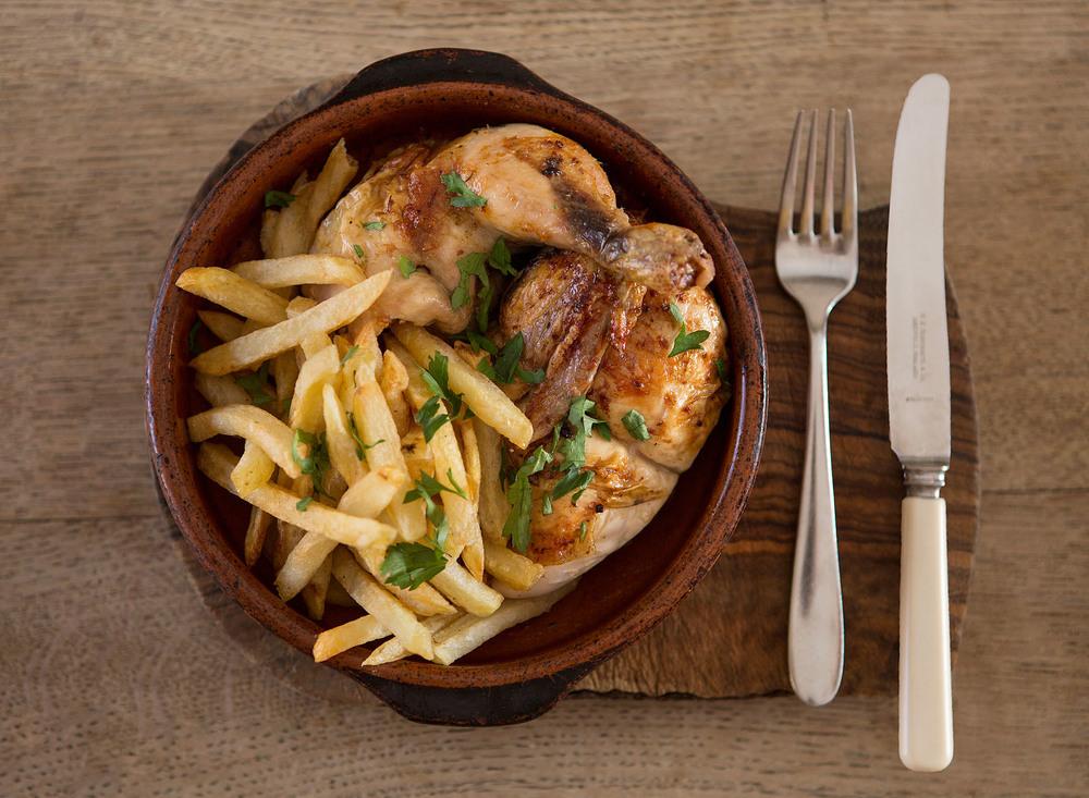 Spit Roast Chicken & homemade fries