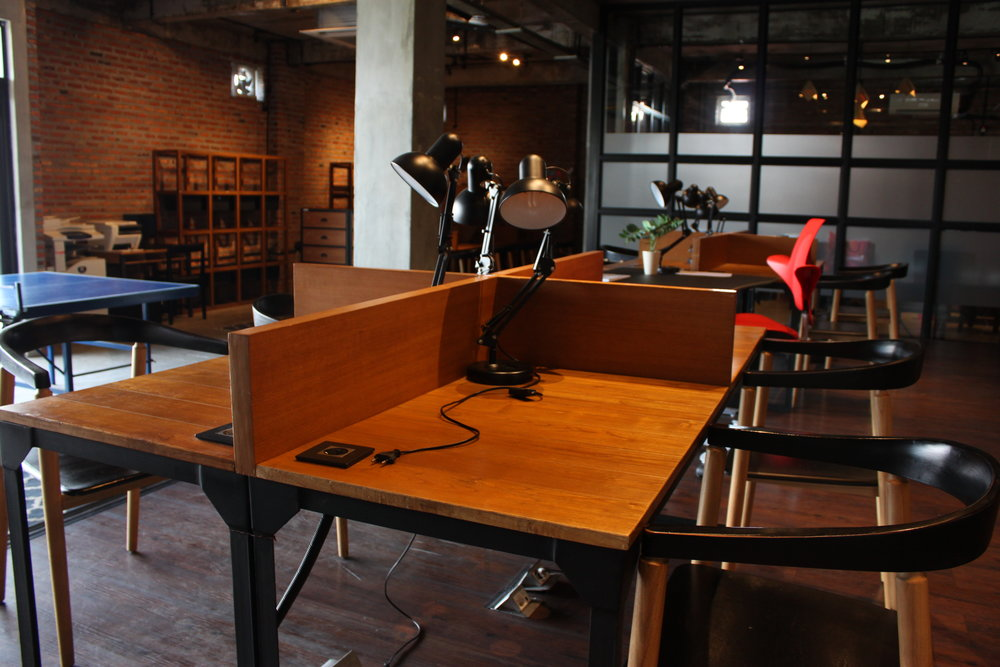 CO-WORKING SPACE   Dedicated fiber-optics internet, spacious communal tables, and comfortable sofas to get your creative juices flowing!