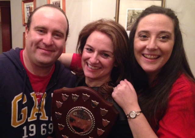 Winners: Nigel McGuinness ('Bar'), Fiona Keane (Director), and Grainne Troy ('Ger').