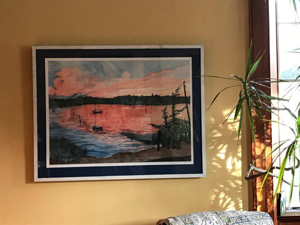 """Scarlet over Cotuit Bay"", 22"" by 30"", at a home in Wallingford, Vermont"