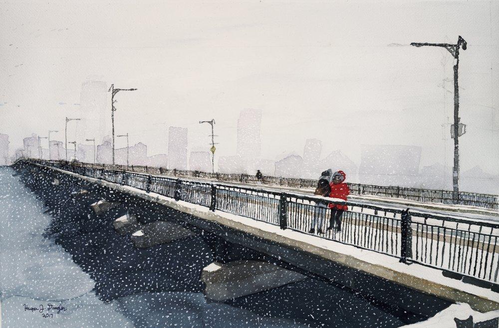 Bridge to a Wintry City