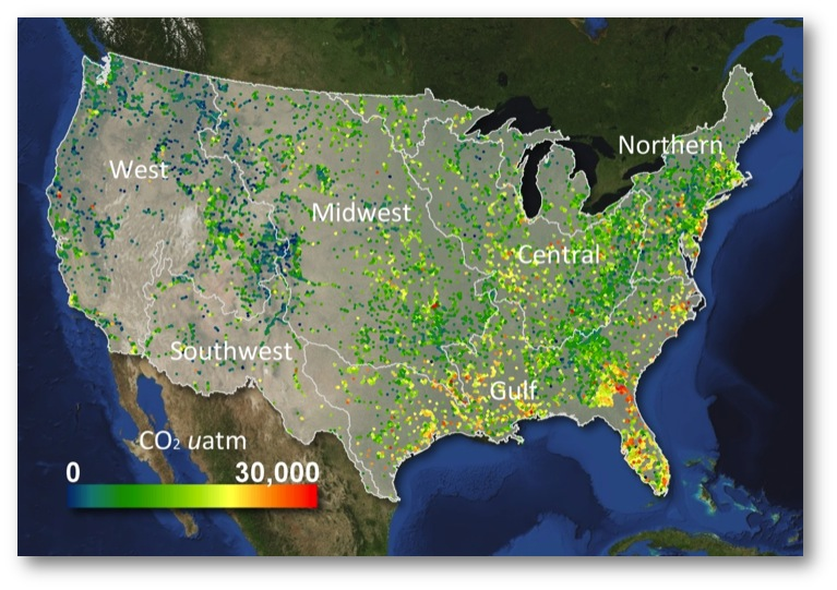 Carbon dioxide concentrations along rivers in the conterminous US