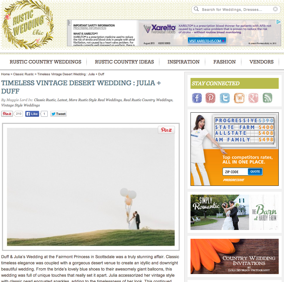 Session Nine Photographers was featured on Rustic Wedding Chic. Oversized balloons.