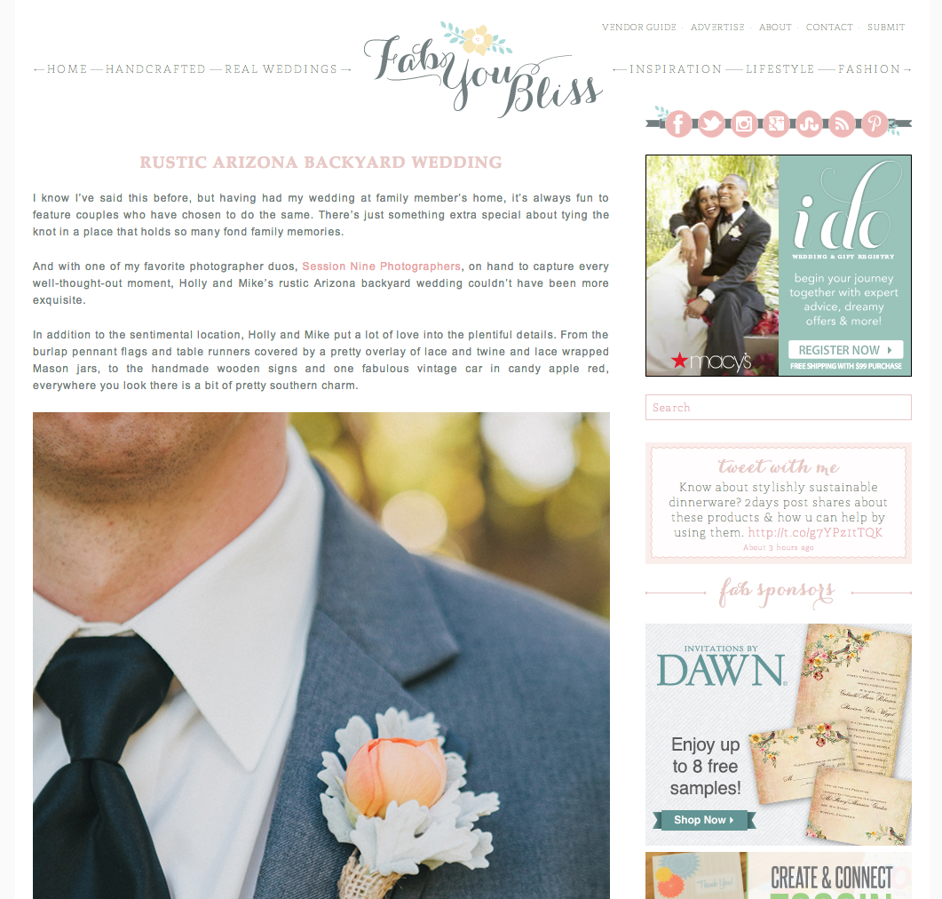 Session Nine Photographers featured on Fab You Bliss