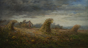 Karl Kappes,   Approaching Storm: Corn Shocks  , c. 1920s, oil on canvas, Friends of Art Purchase, 1990.15578.