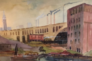 August Biehle, Cleveland Waterfront, watercolor.jpg
