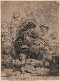 Rembrandt,  The Pancake Woman , 1635, etching on laid paper. Gift of Mr. Frank E. Miller, 1989.090. Image courtesy of Syracuse University Art Galleries.