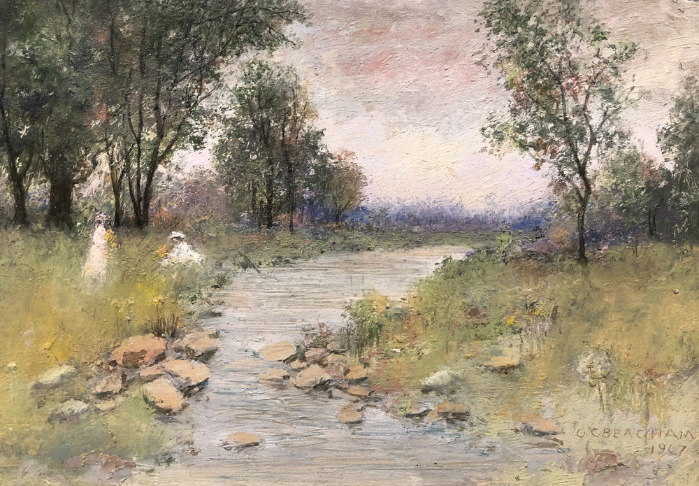 Oliver Conley Beacham,  Playing by the Stream , 1907, oil on board. Image courtesy of the Cincinnati Art Galleries, 14048