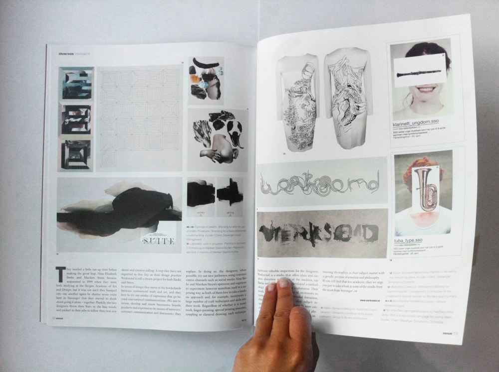 Werksemd interview and showcase in the October issue of  NOVUM   - World of graphic design  (2012).   Featuring artwork by Nina E. Børke.