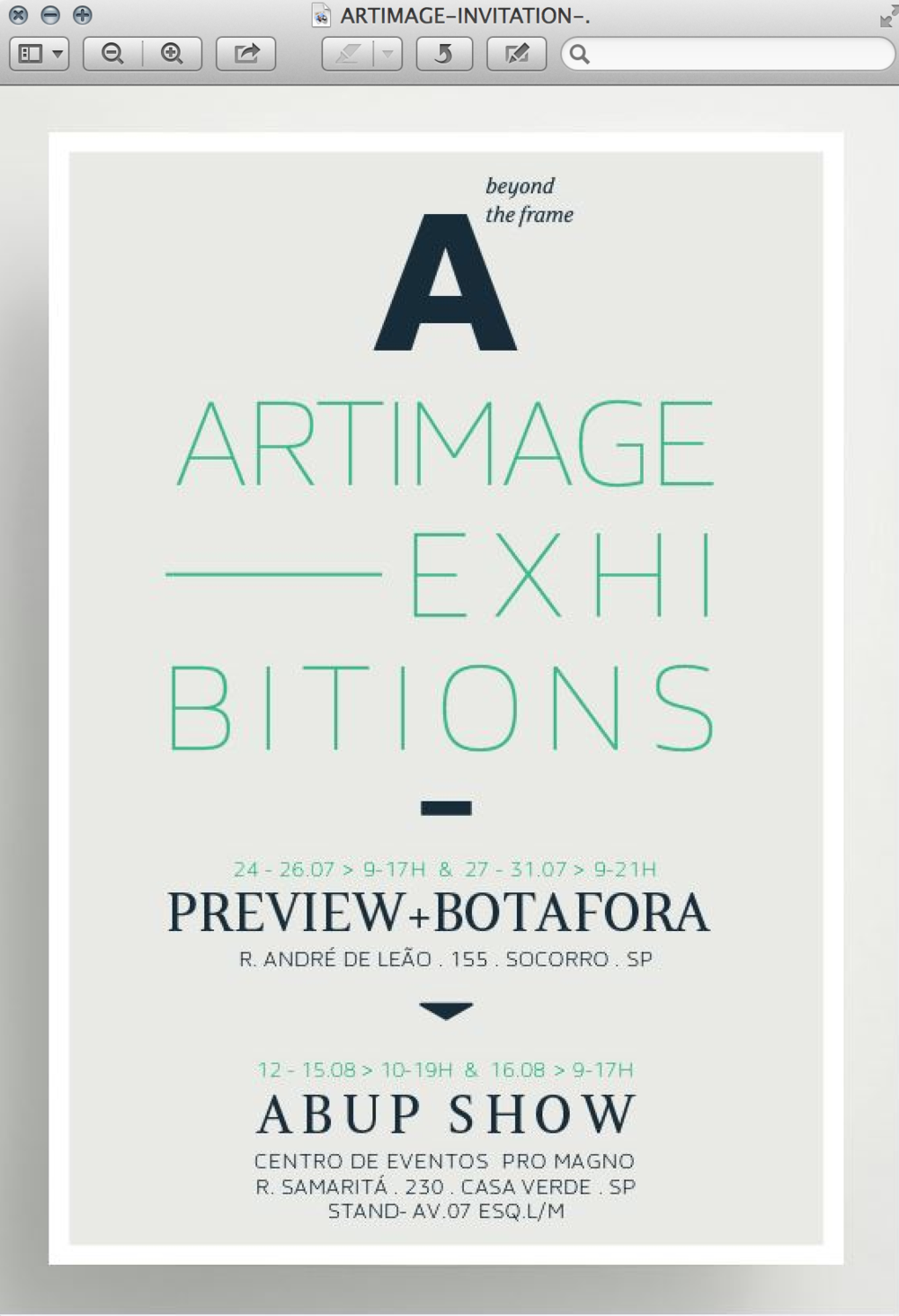 UPCOMING EXHIBITION / Brand new work for ARTIMAGE to be showcased in Sao Paulo this month.