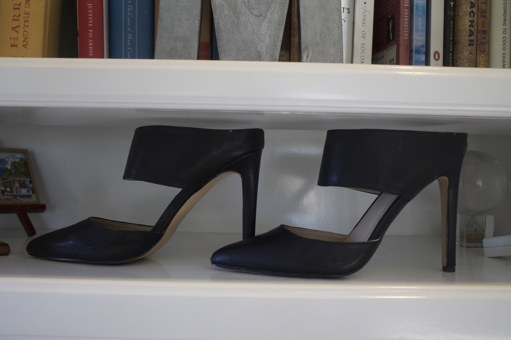 Express Pointed Toe Two Piece Runway Mule ($56) in Black