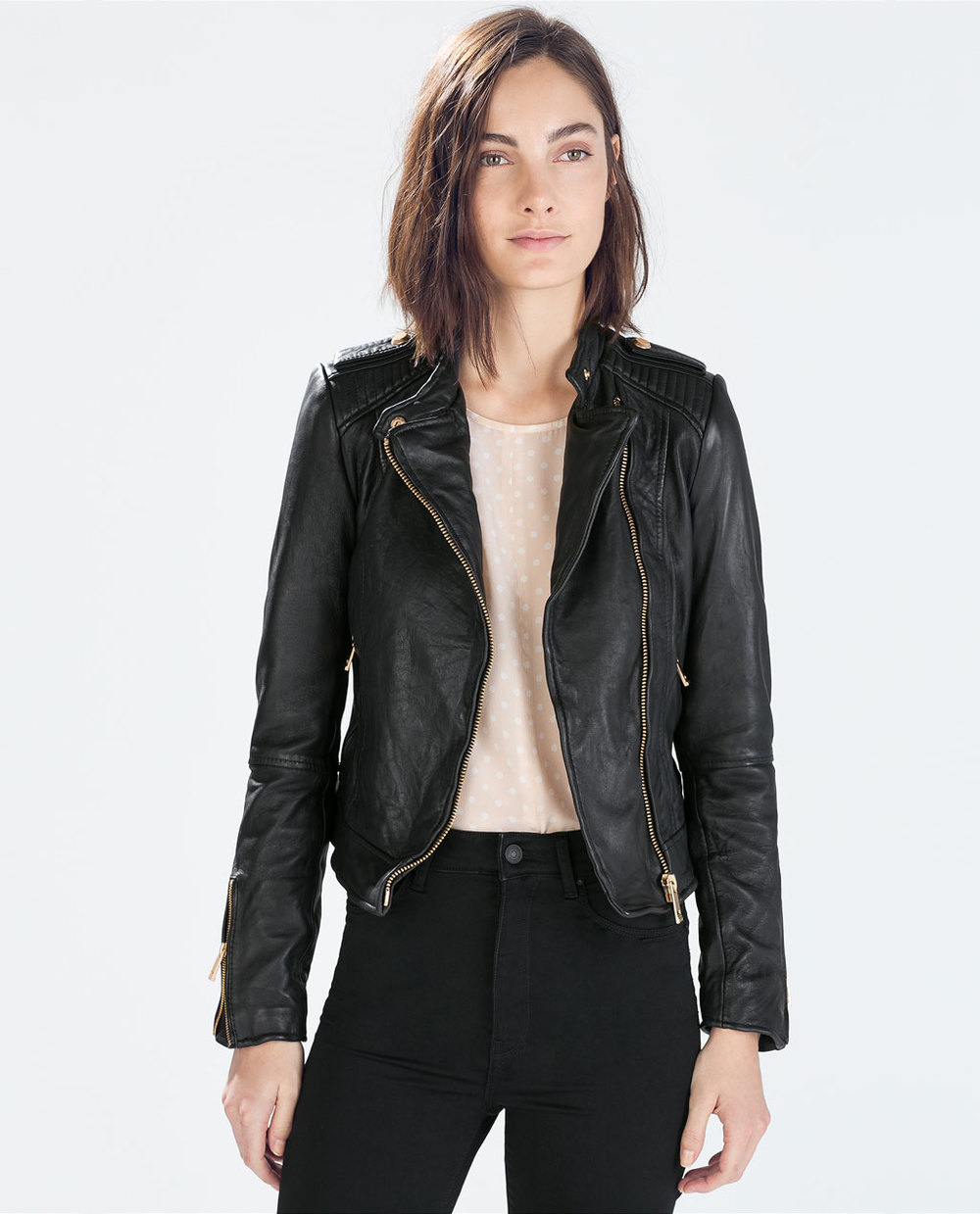 Zara  Leather Biker Jacket  ($279)