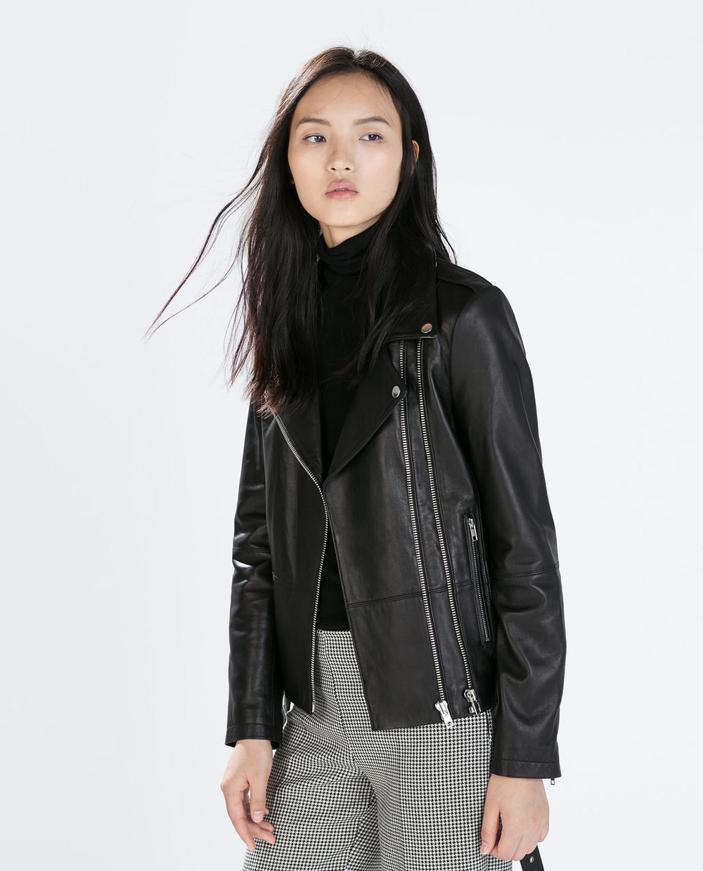 Zara  Zipped Leather Biker Jacket  ($299)