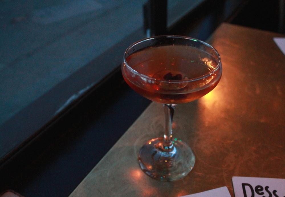 The Martinez: Gin, Vermouth, Maraschino Liquer, Orange Bitters, and Sour Cherry