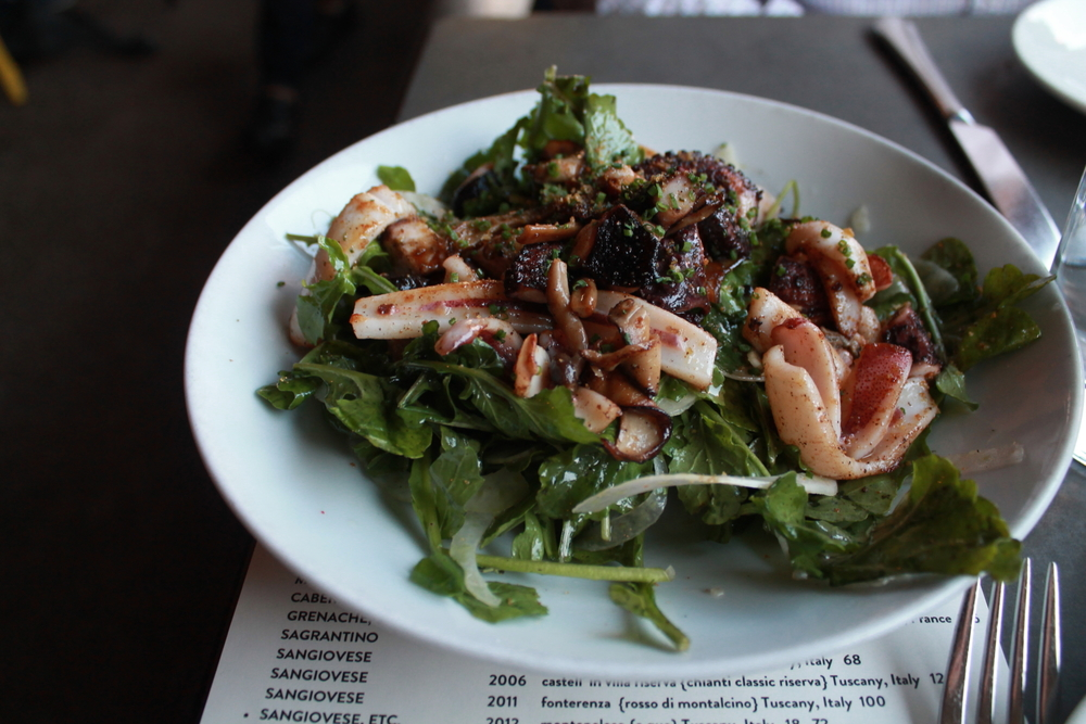 Grilled Octopus & Calamari: arugula,mixed mushrooms,fennel,aged balsamic,chili lemon vinaigrette.
