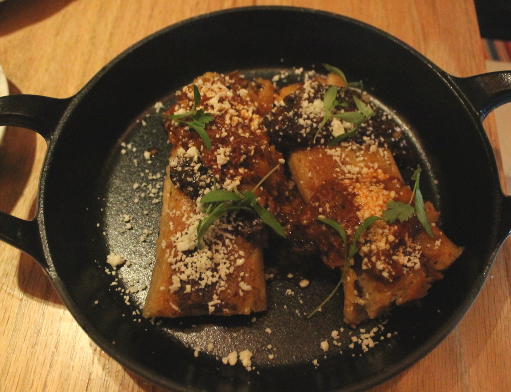 Lamb Neck Tamales: King Oyster Mushroom, Queso Oaxaca
