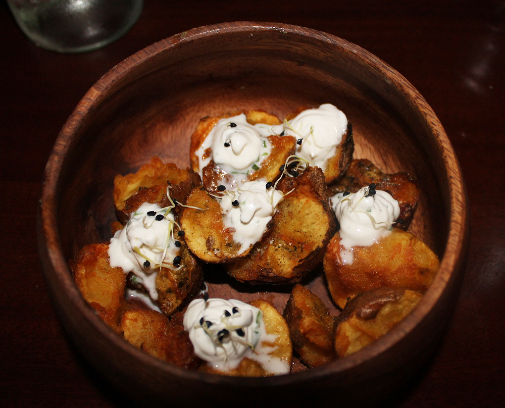 Potato: provencal powder, garlic chive, creme fraiche