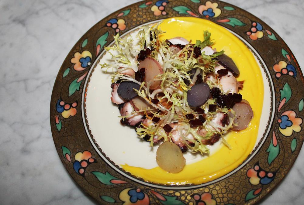 Octopus: potato confit, frisee, saffron aioli