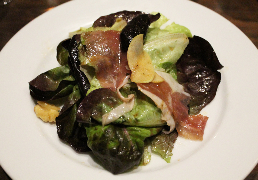 Proscuitto and Walnut salad: Red butter lettuce, calville blanc apple, sun dried tomato vinaigrette