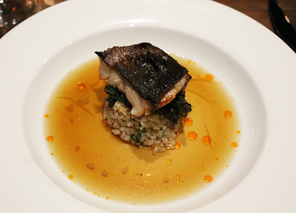 Marinated Black Cod: Half brown rice, deer tongue spinach, meyer lemon broth