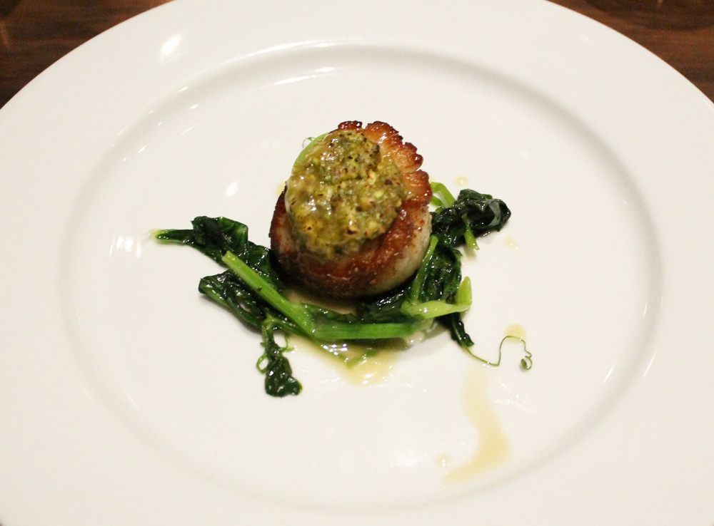 Pistachio Crusted Scallop: Karashi, honey, sauteed pea shoots