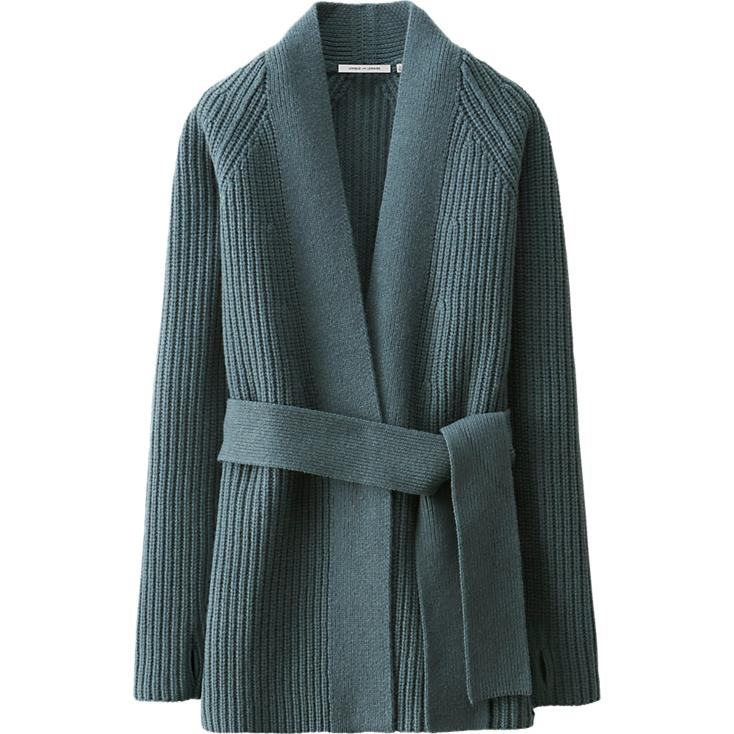 Lambswool Long Cardigan,  Uniqlo , $60