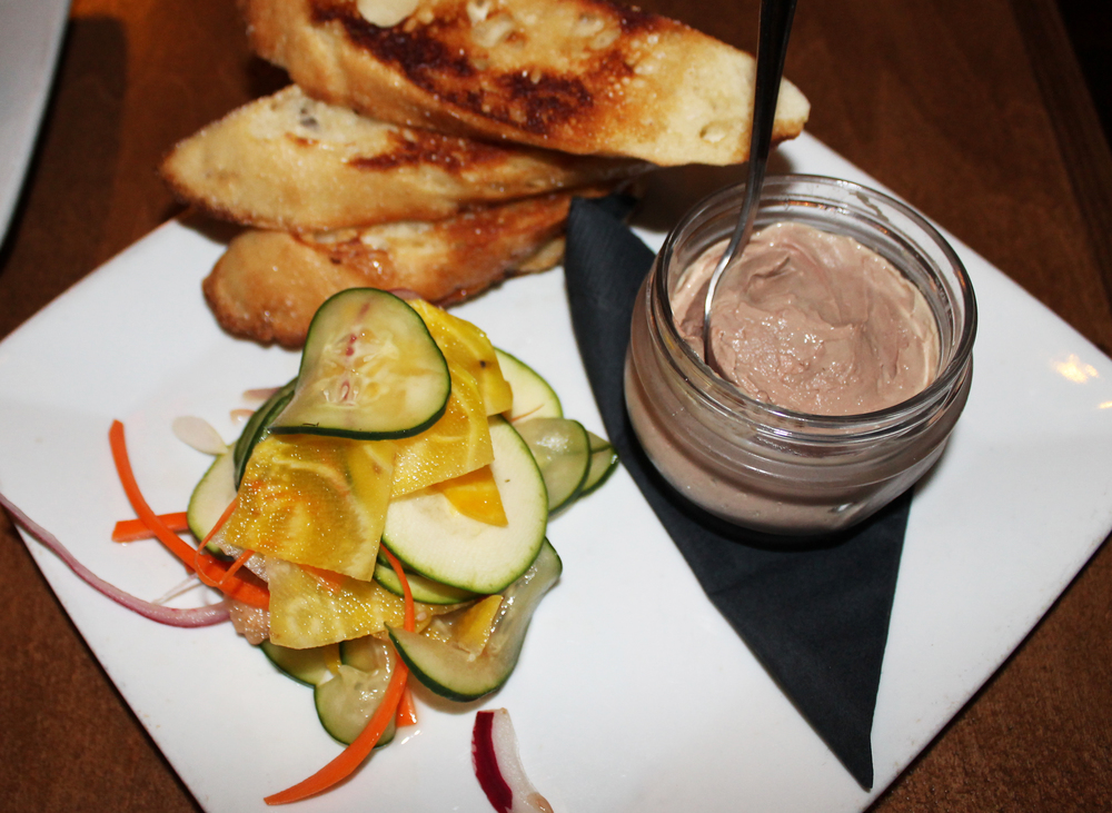 Chicken Liver Mousse: toasted baguette, house pickled crudité