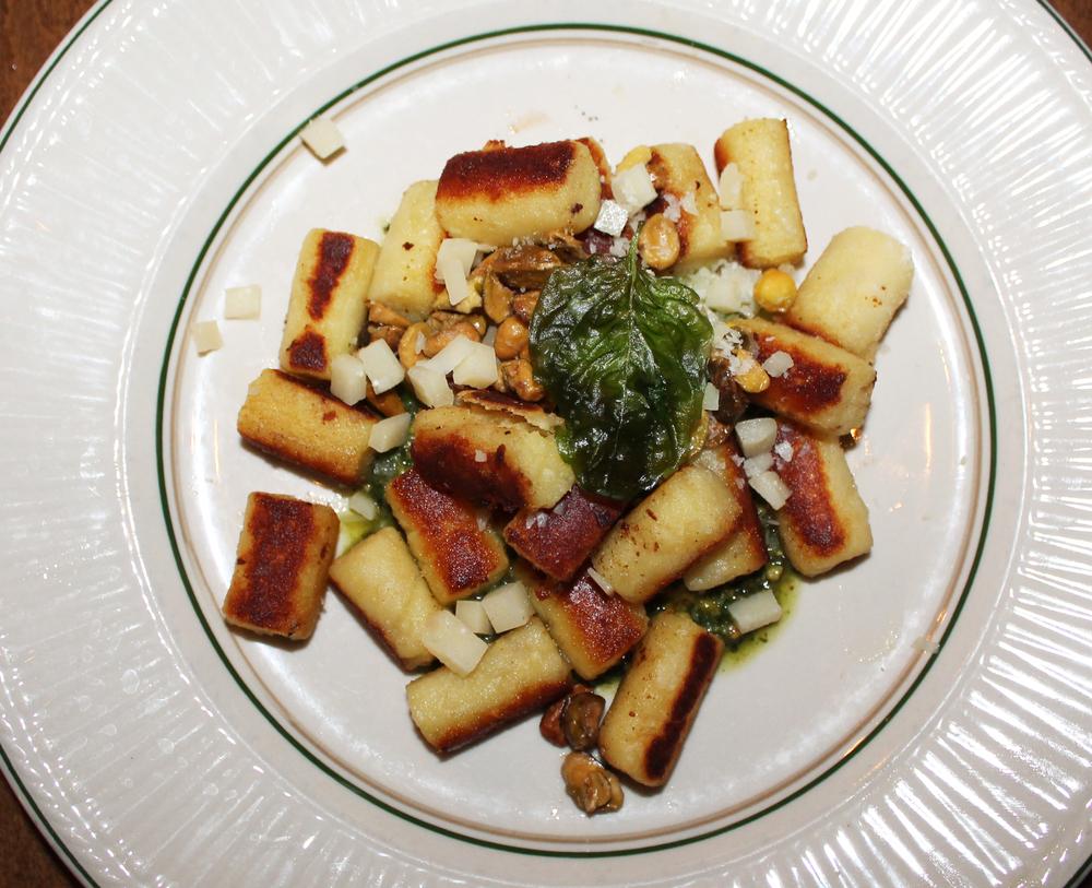 Noquis:ricotta-potato dumplings, pistachio pesto