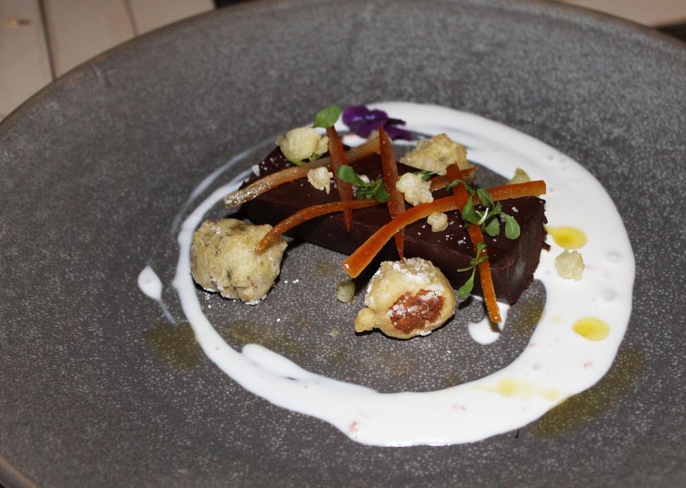Preserved Oranges and Dark Chocolate Pate: Pistachio Fritter, Ghost Pepper, Craime Fraiche