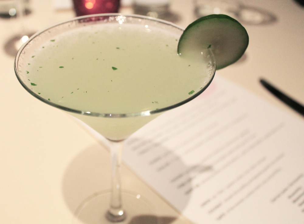 THE GETTY COCKTAIL:  Hendricks Gin, lime juice, cucumber, mint
