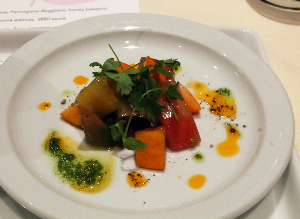 Tomato + Persimmon: late season vine-ripened tomato, early season Fuyu persimmon, parsley leaves, Modena vinegar