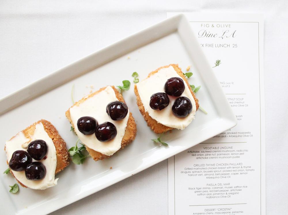 Dessert Crostini: Amarena cherry, mascarpone, pistachio shortbread