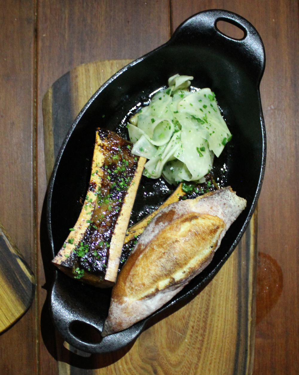 YAKITORI BONE MARROW: FERMENTED TURNIP SALAD, BAGUETTE