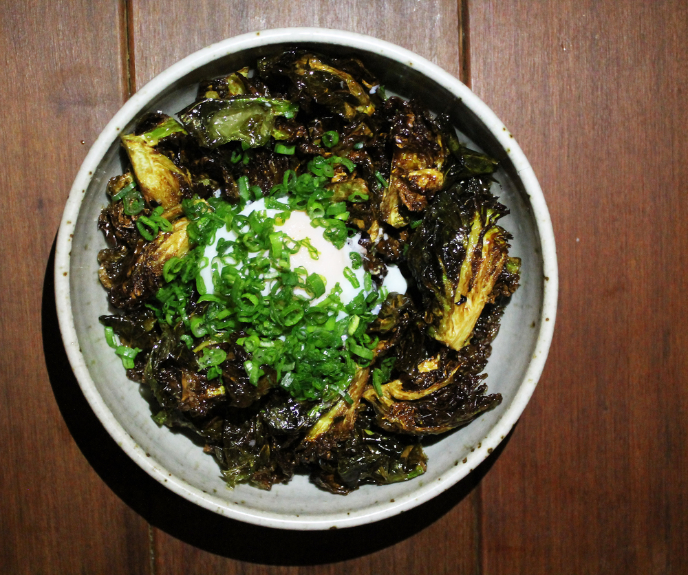 BRUSSELS SPROUTS: DASHI BROTH, POACHED EGG, SCALLIONS