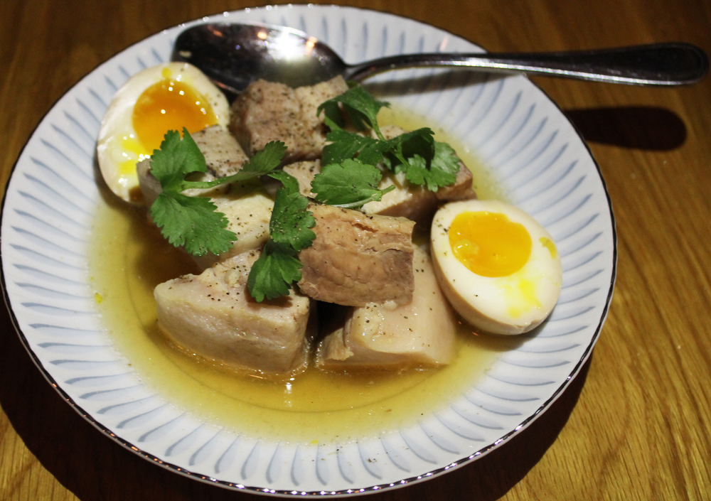 Braised Pork Belly: Fresh Coconut Juice, Marinated Egg