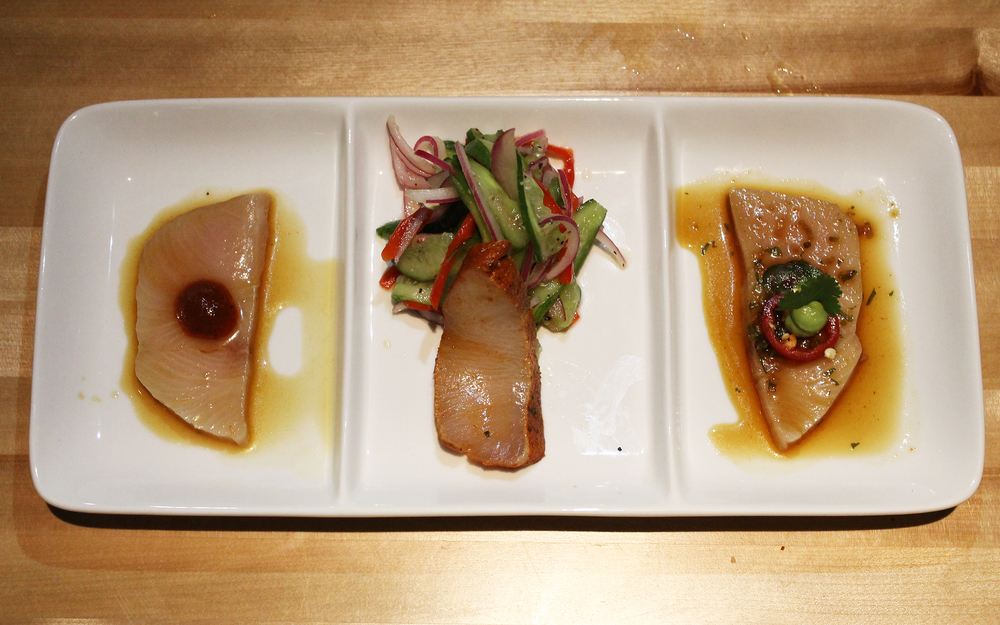 Hamachi Three Ways: cascabel ponzu, chile piquín rub, avocado wasabi