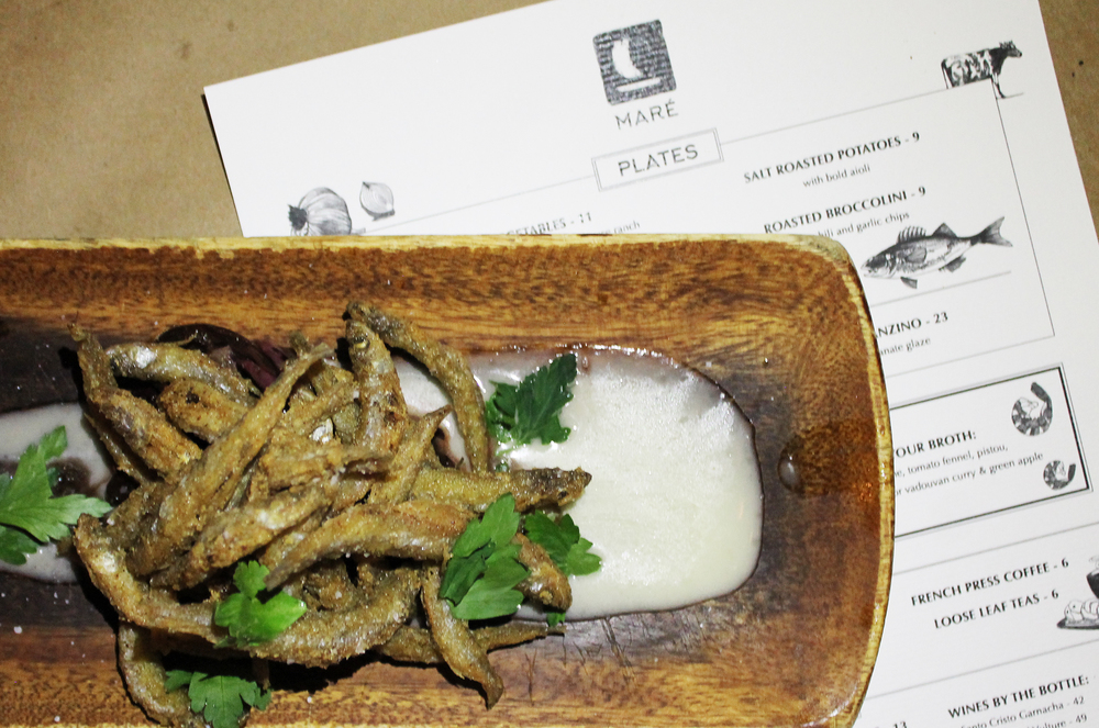 FRIED SMELT with roasted lemon sauce and radicchio