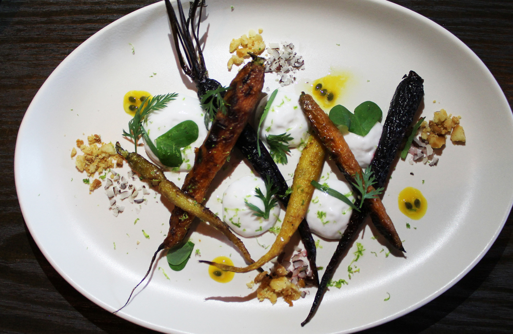 Burnt Carrots: coconut, passion fruit, tarragon, macadamia, lime