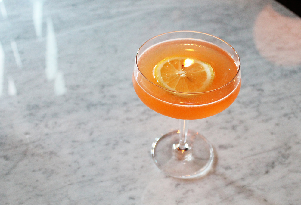 The Plunkett: Belvedere Mango Passion Vodka, lemon, passion fruit, aperol, peychaud bitters, prosecco