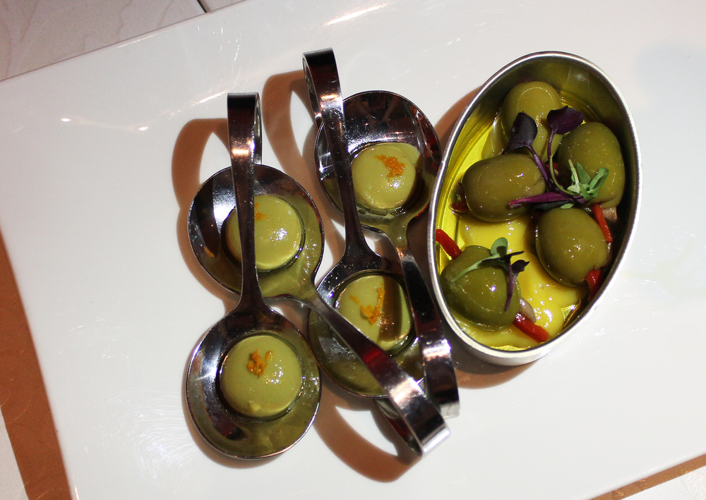 Olives stuffed with anchovy and piquillo and 'Ferran Adrià' liquid olives