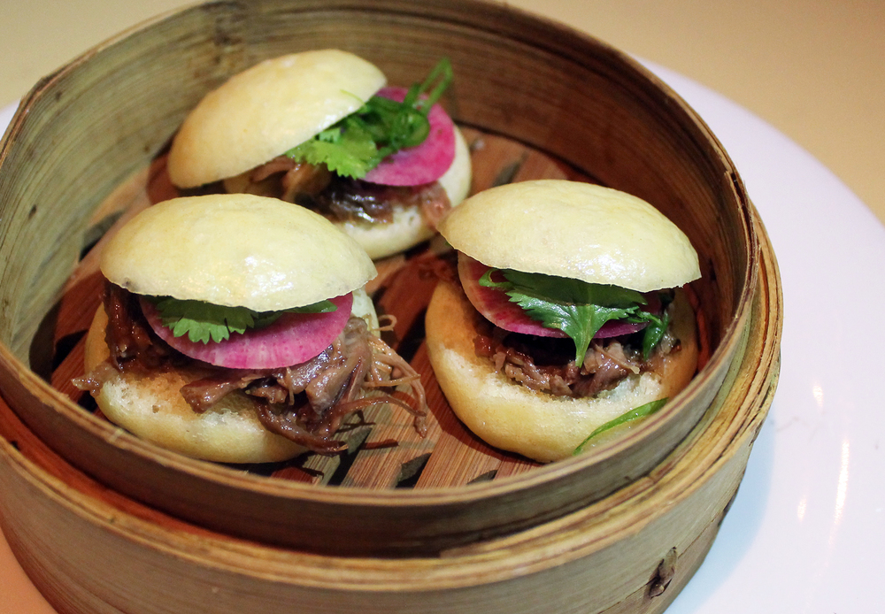 Oxtail Steamed Buns: Watermelon radish, cilantro, serrano chili
