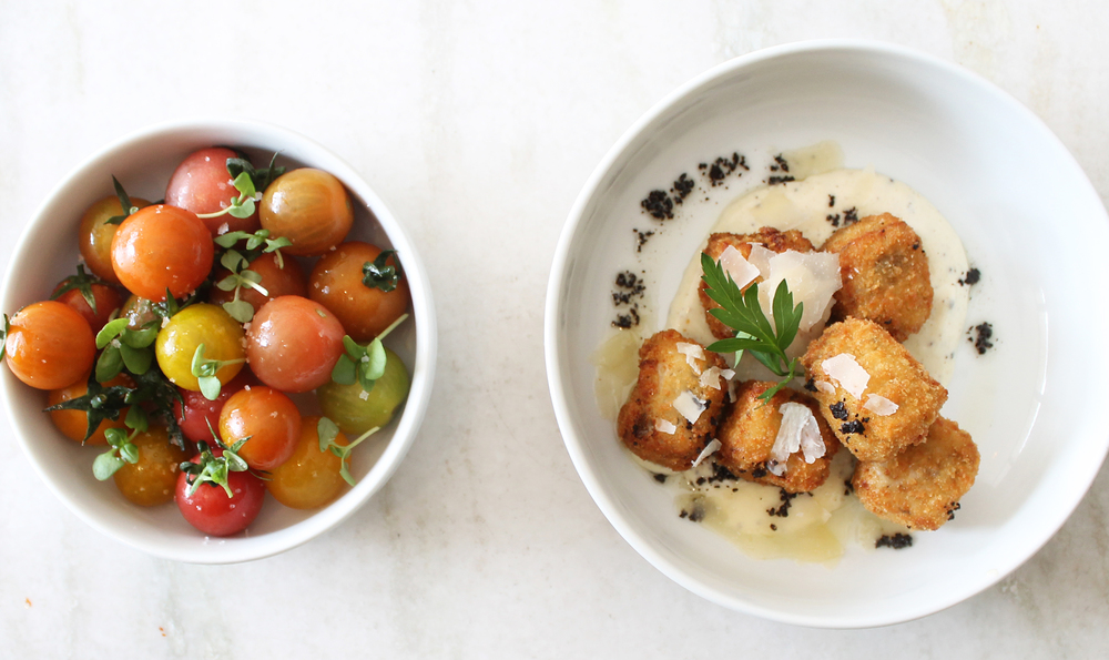 Heirloom Cherry Tomatoes and Truffle Mushroom Croquettes