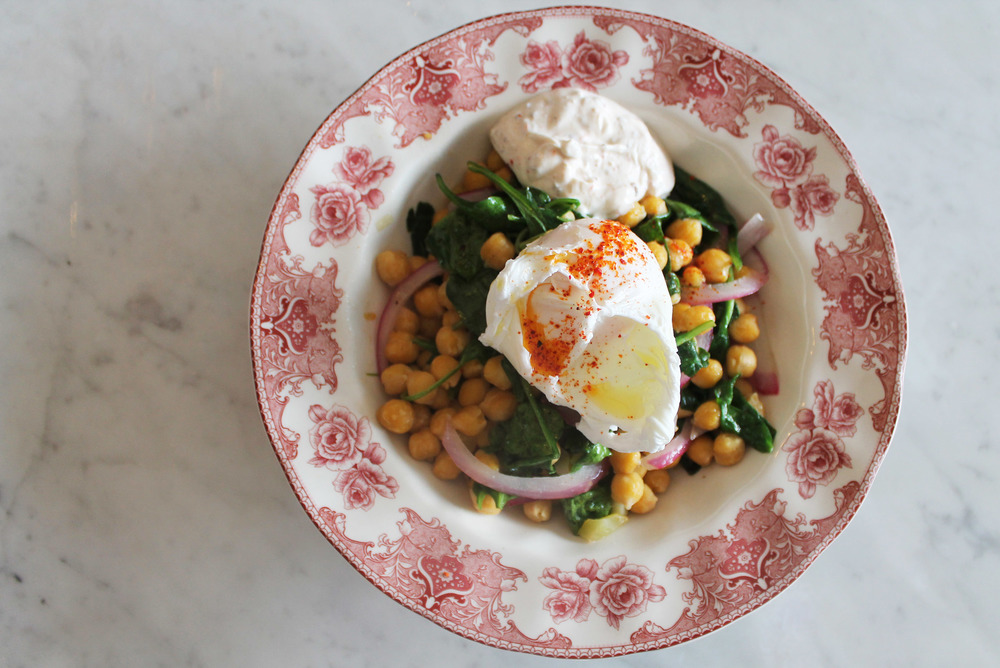 Warm Garbanzo Beans & Wilted Spinach:preserved lemon, spiced yogurt, poached egg