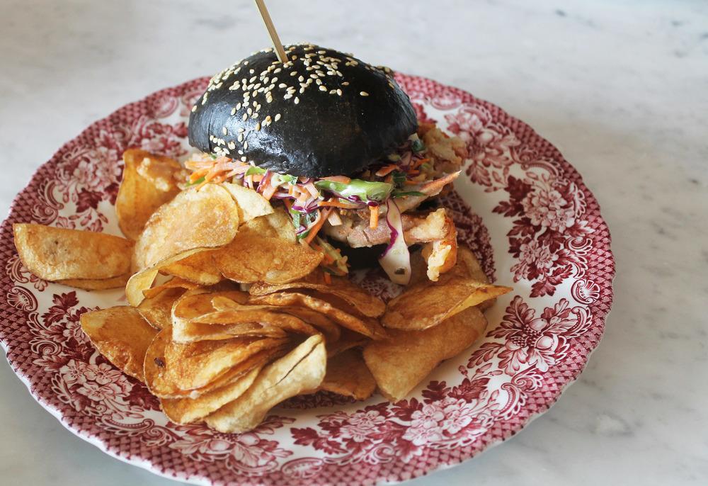 Soft Shell Crab Sandwich:red cabbage, scallion mayo, black bread