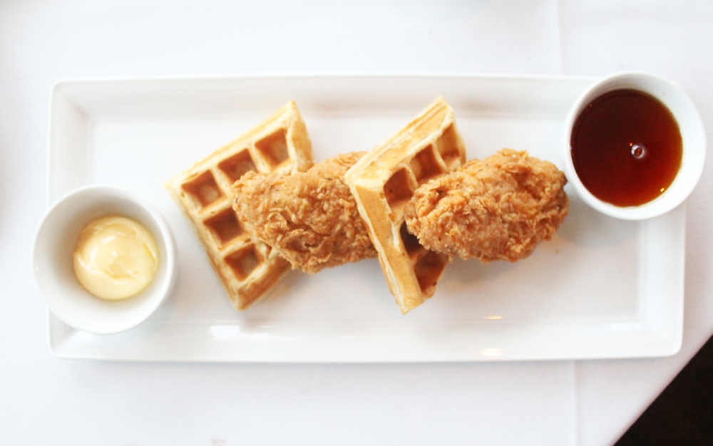"Chicken & Waffles: fried ""chicken"" / waffles / warm maple hot sauce"