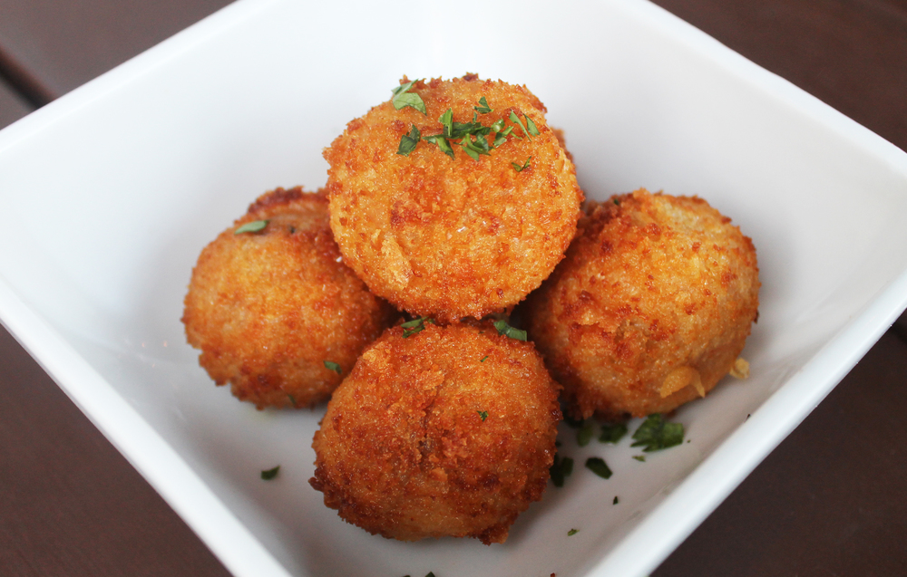 Braised Bacon Arancini : tomato conserva risotto, applewood smoked bacon, fontina, mozzarella